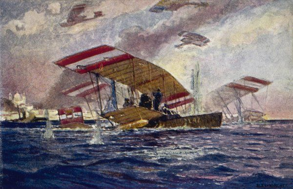 An Austrian Hansa-Brandenburg seaplane is forced down while attacking the Italian port of Ancona, but her crew behave with characteristically heroic courage