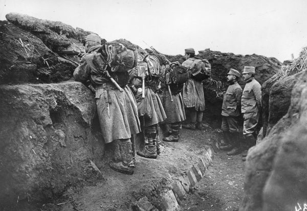 Austrian troops in a trench on the Eastern Front near Opatowice, Poland, during the First World War. Date: 1914-1918
