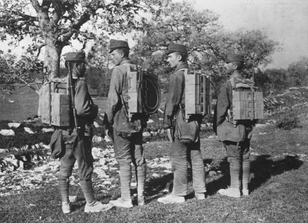 Austro-Hungarian soldiers carrying munitions on their backs during the First World War. Date: 19 September 1917