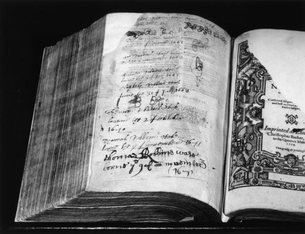 The Authorised Version of the Bible. Date: 1631 - 1632
