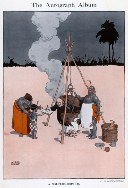A Souperscription. Illustration showing a missionary signing a little boys book whilst being boiled alive. Please note: Credit must appear as Courtesy of the Estate of Mrs J.C.Robinson/Pollinger Ltd/ILN/Mary Evans