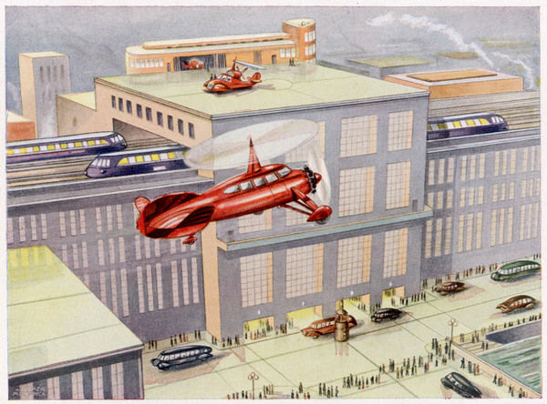 In tomorrow's cities, the autogyro landing pad will be a standard feature, enabling travelers to fly directly to the city centre, landing on a rooftop