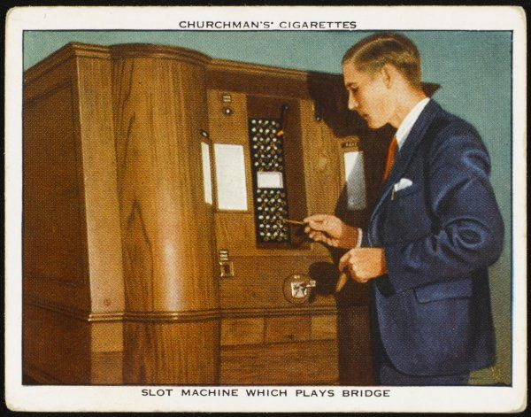 An Automatic Bridge Playing machine. The (human) player inserts a coin, is shown his own hand and the dummy's, and plays by inserting plugs in holes representing the cards