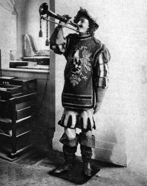 An early 19th century robot from Dresden: a mechancial trumpeter that can blow the Saxon tattoo. Date: 1929