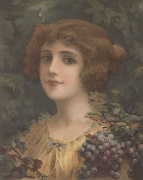Colour illustration of girl depicted as autumn