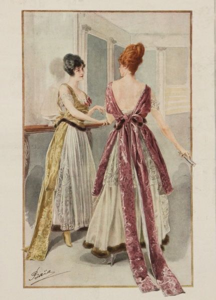 Evening wear fashions for 1916 showing two elegant ladies modelling sleeveless, plunge back gowns with high waists and full skirts typical of the World War One period