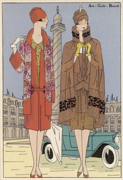 Two ladies dressed for a shopping expedition in Paris : they are wearing creations by Bernard and Doucet
