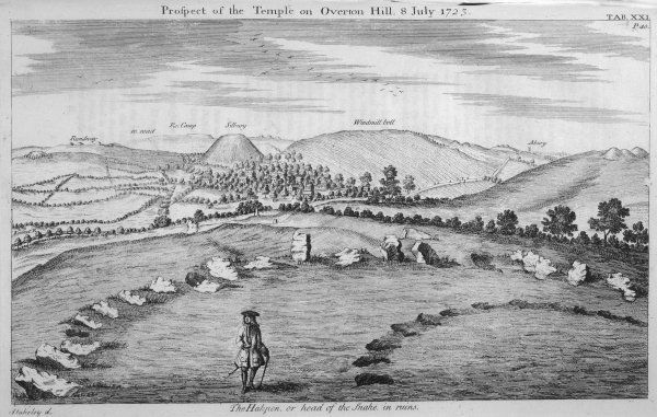'Prospect of the Temple on Overton Hill - The Hakpen or 'head of the snake' in the ruins.' Stukeley writes: 'Abury..the chief patriarchal..temple of the island.&#39