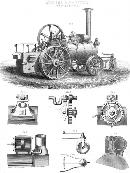 Aveling & Porter's Traction Engine, illustrated in 8 figures showing the key technological facets of the machine. Date: circa 1880