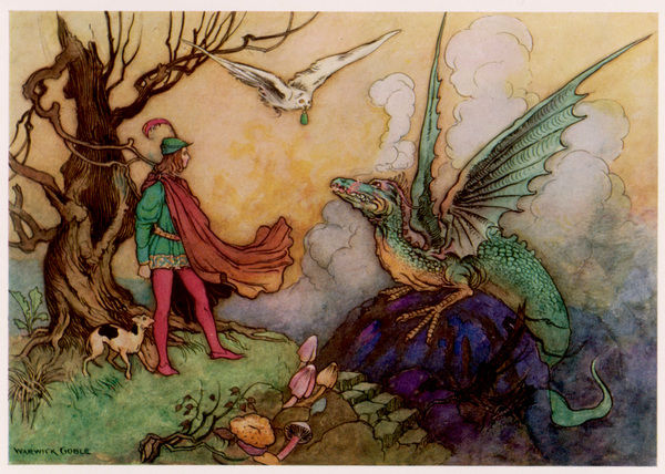 Avenant confronts a fearsome dragon - fortunately, a helpful owl is bringing him a magic phial, and all are able to live happily ever after, hero and dragon alike
