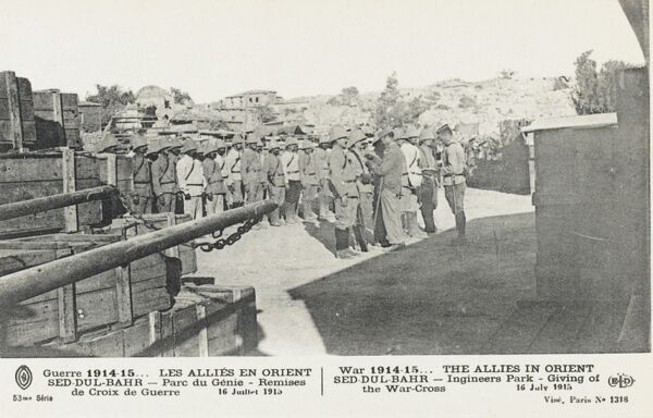 The awarding of the War Cross to allied soldiers in the Dardanelles - 16th July 1915. Engineers Park, Sed Dur-Bahr, Turkey