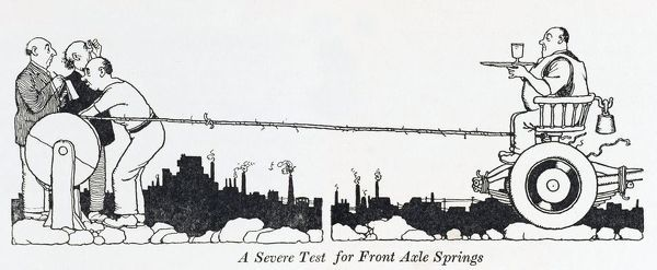 A severe test for front axle springs. An already heavy man, is weighed down and sits upon a cars front axle, carrying a tray with a glass as he is winched by rope across a rocky terrain. Please note: Credit must appear as (c) Courtesy of the estate of Mrs J