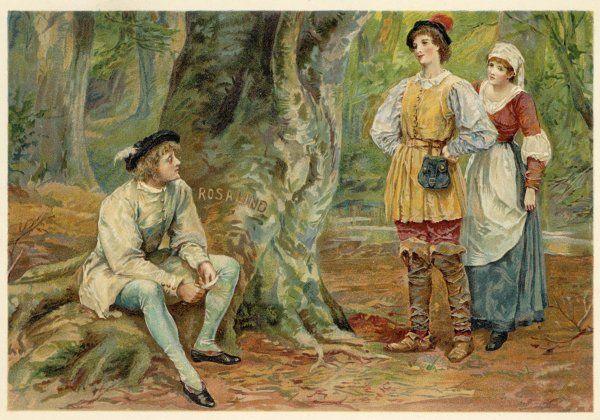 Orlando, Rosalind (disguised as Ganymede) and Celia (disguised as Aliena) in the Forest of Arden