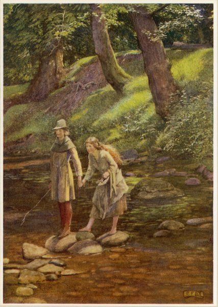 Rosalind and Celia, disguised as Ganymede and his sister Aliena, wander in the Forest of Arden