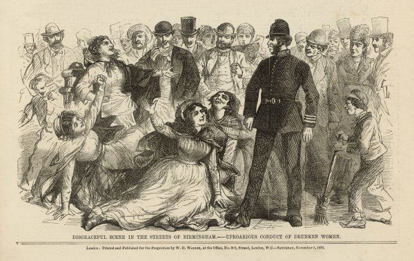 A disgraceful scene in the streets of Birmingham occurs when drunken housewives make a show of themselves in public. Date: 1870