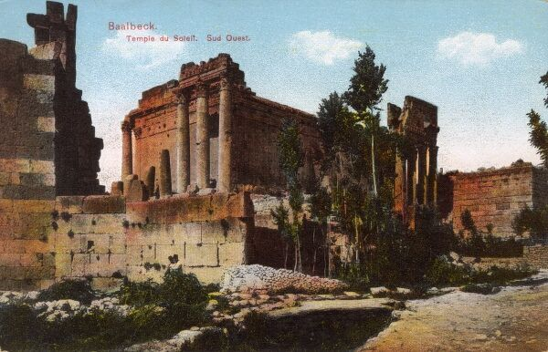 The Lebanese archaeological site of Baalbek (ancient Heliopolis), which features some of the finest and best preserved Roman remains in the Middle East. The Temple of the Sun from the South West. Date: circa 1909
