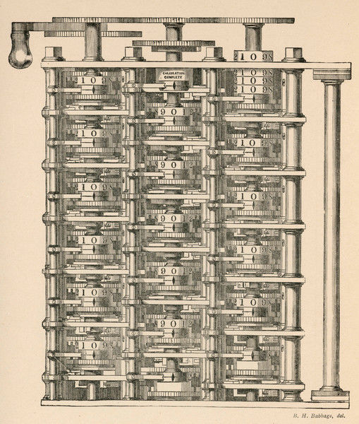 Charles Babbage's 'Difference Engine', an instrument which went beyond simple calculation to embody some of the principles of computers