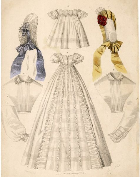 Long clothes - possibly a christening robe adorned with tucked panels & lace insertions; short clothes with vandyked sleeves & bodice, also habit-shirts & sleeves