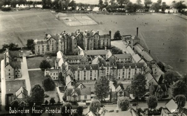 Aerial view of Babington House Hospital, Belper, Derbyshire. The building, designed as a workhouse by George Gilbert Scott and William Bonython Moffatt, was erected in 1839-40