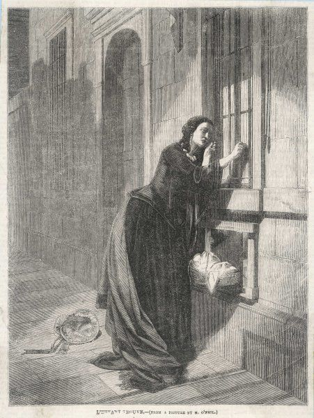 A mother abandoning her child at a convent baby wheel