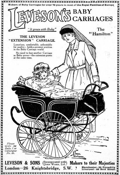 Advertisement for Levesons Baby Carriages, 'makers to their Majesties&#39