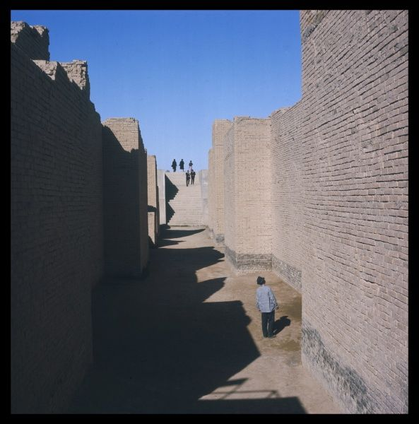 Excavations behing the gate of Ishtar in the ancient city of Babylon in Iraq