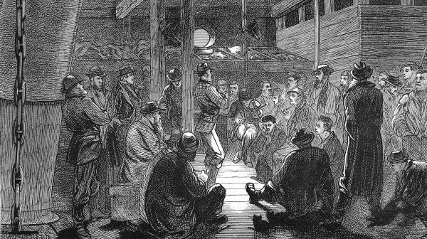 Engraving showing the quarters occupied by single men on the emigrant ship 'Indus', 1872. The men are shown playing music to pass the time on the long voyage from Britain to Australia