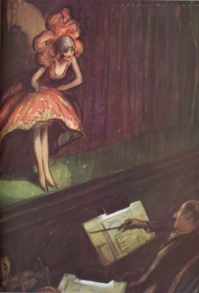 Colour illustration by Webster Murray depicting a stage actress engaging in some humorous banter with the audience, or conductor in the orchestra pit