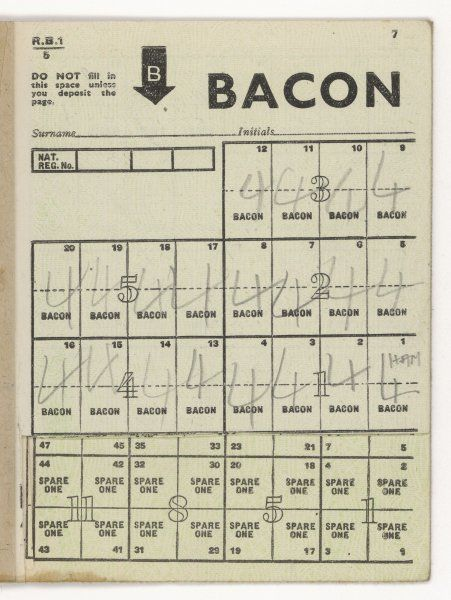 A used page of bacon coupons from a ration book