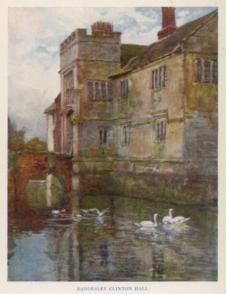 The moated manor house of Baddesley Clinton Hall in Solihull, Midlands; the building dates from the 15th century