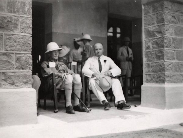 The Chief Scout (Lord Baden-Powell) & the President of the Local Association watching the displays in Aden. 1930s