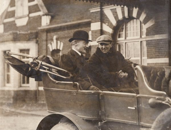 General Baden Powell and Charles Burgess Fry sitting in the back of an open car