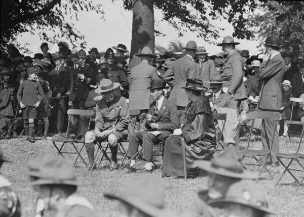 A wolf cub scout gathering at Hyde Park, London 1921 attended by the Duke of York (later King George VI) and sitting to his right, Sir Robert Stephenson Smyth Baden Powell 1857-1941 founder of the Boy Scout movement