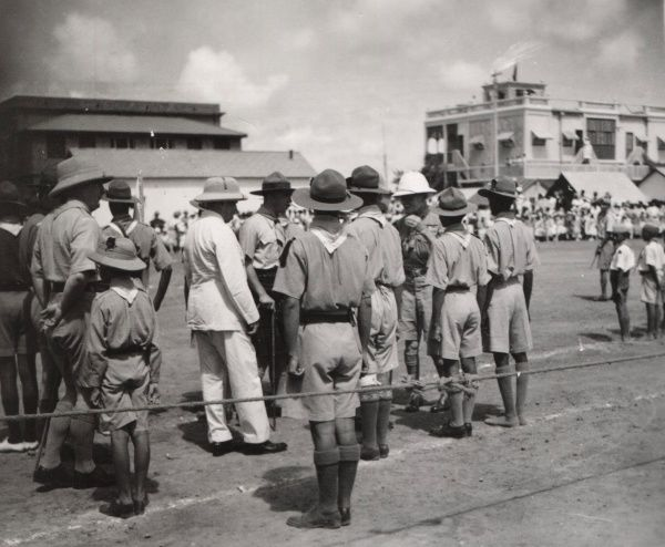 The Chief Scout (Lord Baden-Powell) inspecting a Scout Troop in Aden, Yemen. 1930s