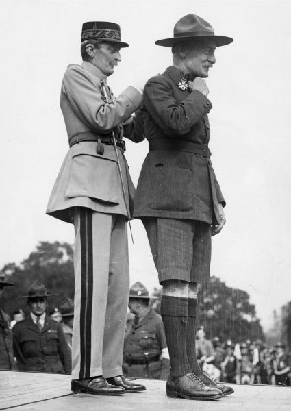 General Sir Robert Baden Powell, founder of the Boy Scout movement, receiving the Legion d'Honneur medal
