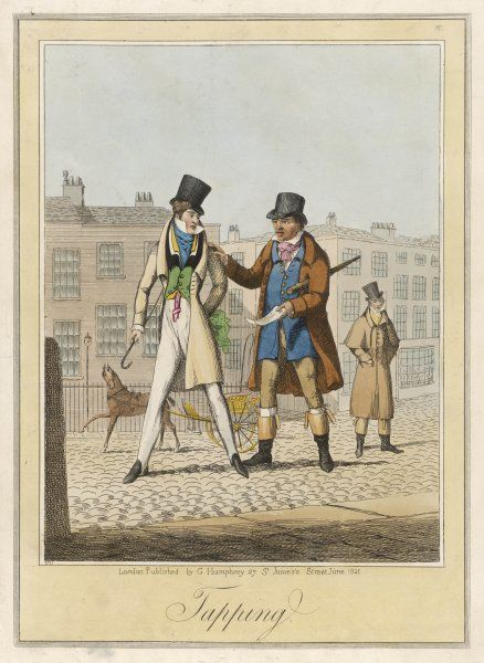 'TAPPING' - a bailiff corners a young man in the street and serves a writ on him, perhaps a tailor's bill he has 'forgotten' to pay, perhaps something more serious