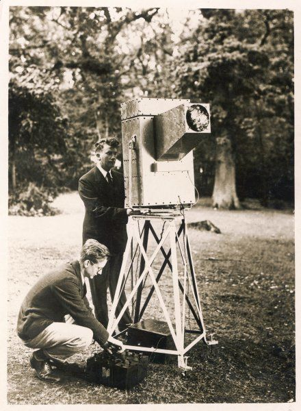 John Logie Baird demonstrates his 'Noctovisor'; an infra-red device which allowed limited vision in dark and foggy conditions