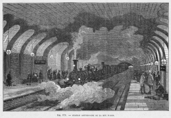 A train arrives at Baker Street station, on the Metropolitan Line : the high roof is needed because the first trains are pulled by steam locomotives