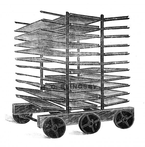A baker's double rack truck for transporting numerous loaves of bread made from hardwood and wrought iron. (as in the truck is made from hardwood and wrought iron, not the bread!). 1910