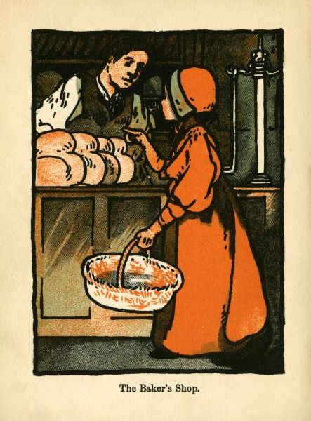The Baker's Shop. A young girl with her shopping basket selects a loaf at the Bakers