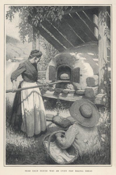 'Near each house was an oven for baking bread' - making bread is a serious (and labour intensive) business at St Anne, Brittany. Not like popping out to Tesco