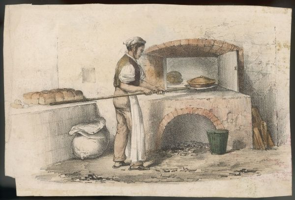 The baker places a pie in his oven, using a long-handled appliance which doubtless has its own name, but I don't know it