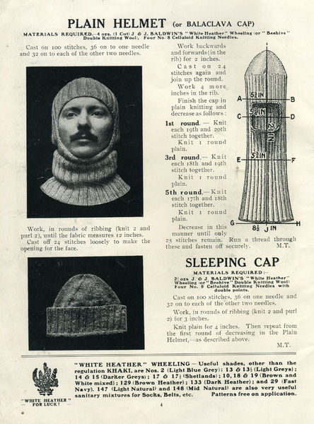 Balaclava And Sleeping Cap Knitting Patterns Ww1 Patterns From A