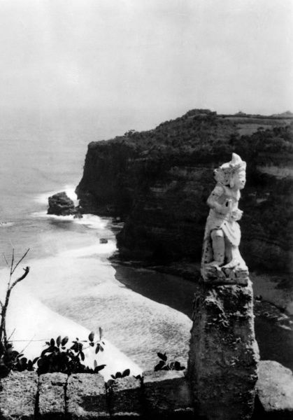 The south coast of Bali, Indonesia, showing part of a temple. Date: 1930s