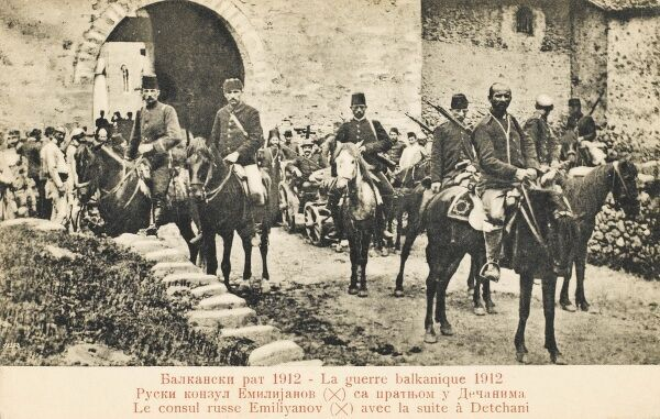 Serbia - The Russian Consol Emiliyanov with his bodyguard at Detchani, 10 miles south of Pech (Pec) during the Balkan War between Russian and the Turkish Ottoman Empire in 1912