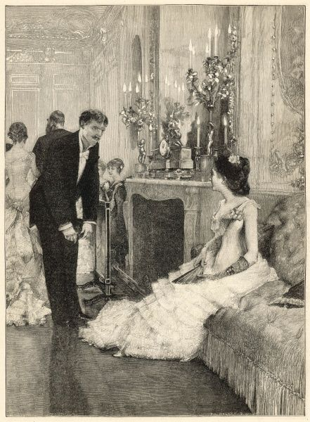 A seated lady is asked to dance by a gentleman, who bows down courteously in front of her