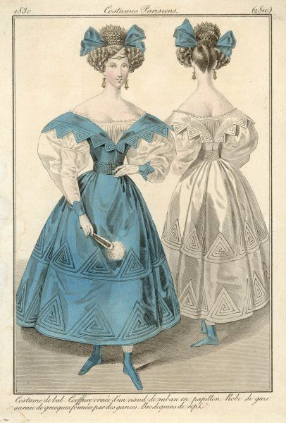 Gauze gowns with Greek designs. Horizontal revers forming mancherons on the shoulders. Gigot over-sleeves & reversed points at the cuff. Short skirt & boots