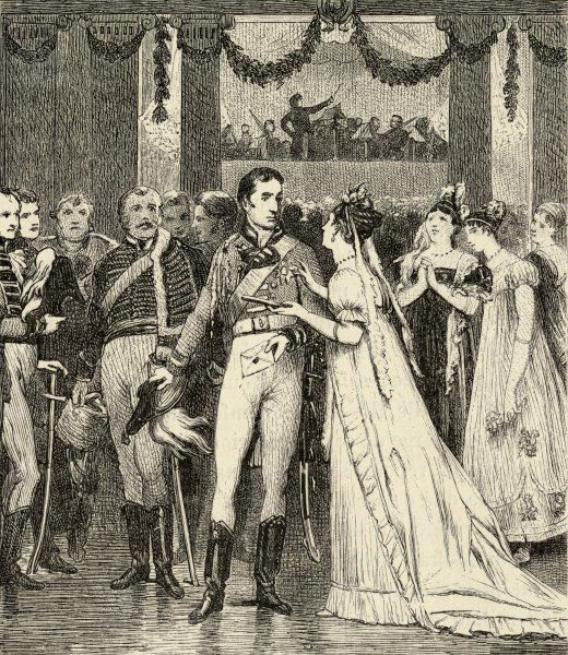 On the eve of the battle of Waterloo, Wellington attends the Duchess of Richmond's ball, at Brussels