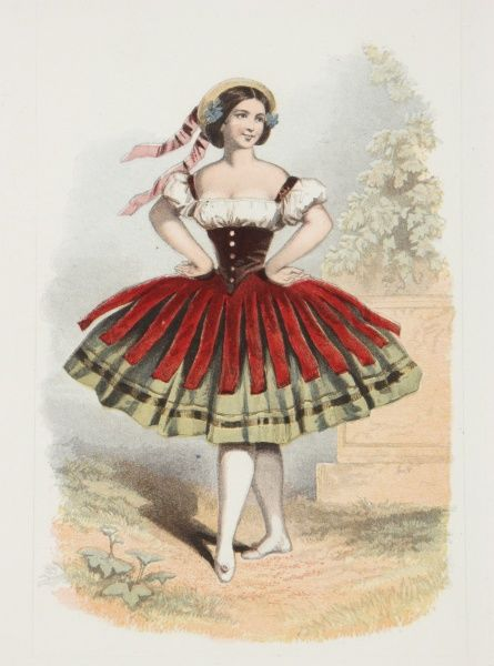 A ballerina poses wearing a dress based on traditional folk or peasant costume