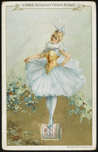 A ballerina stands on a Liebig can